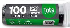 Saco de lixo 100L c/10 preto Trad