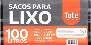 Saco de lixo comercial 100L preto c/100