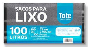 Saco de lixo Reforçado 100L fardo c/ 100 preto Reforçado