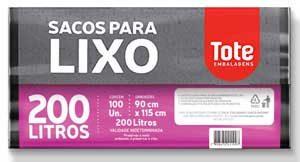 Saco de lixo Ultra forte 200L preto c/100